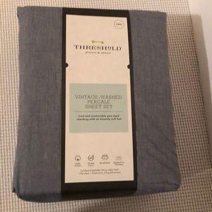 Threshold vintage-washed percale sheet set